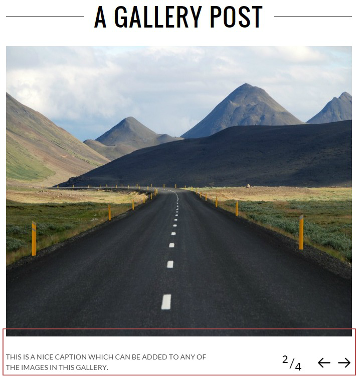 Gallery Post Format - Above The Content Media Position
